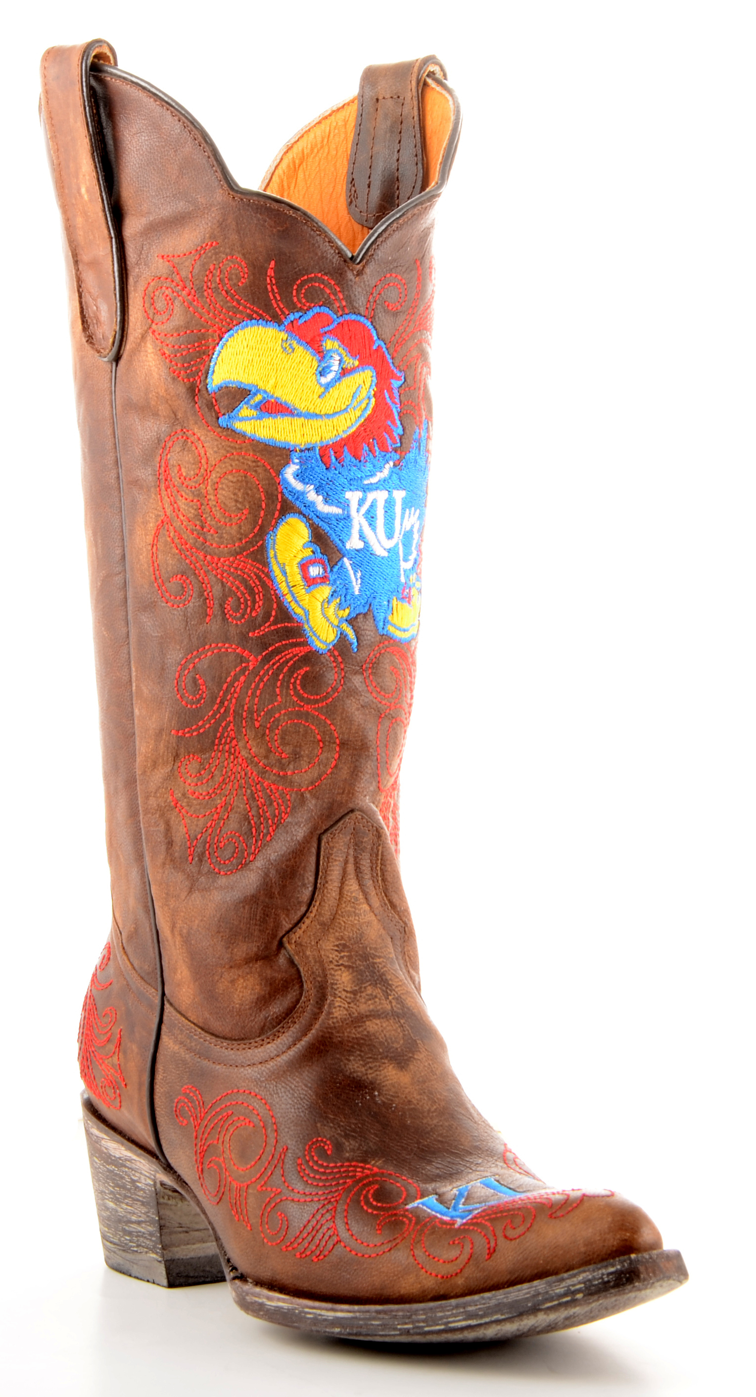 "Gameday Boots Womens 13"" Tall Leather University Of Kansas (Ku) Cowboy Boots by GameDay Boots"
