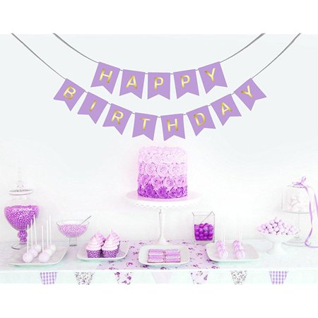 lavender purple happy birthday banner with hanging clips for easy