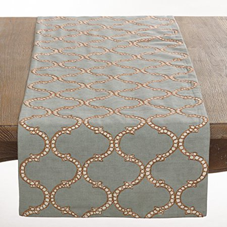 "Dastan Collection Stitched Lattice Design Table Runner, Blue-Grey, 16""x72"""