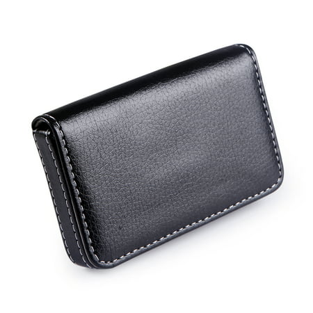 Hde faux leather case business card holder wallet organizer with hde faux leather case business card holder wallet organizer with magnetic flap black colourmoves