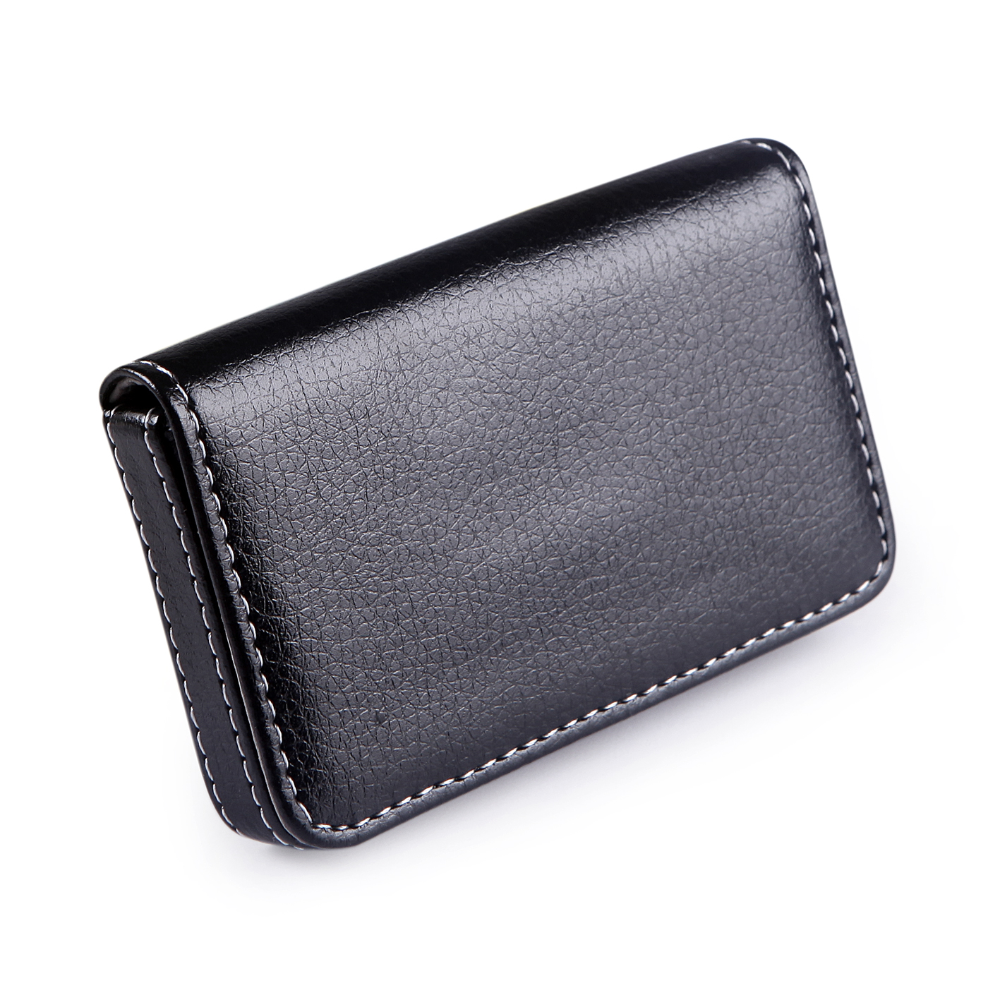 HDE Faux Leather Case Business Card Holder Wallet Organizer with Magnetic Flap (Black)