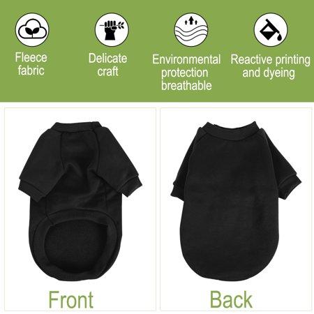 Cotton Blend Dog Winter Sweatshirt Pet Clothes Fleece Lined Warm Coat Black M - image 2 of 7