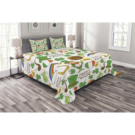 - St. Patrick's Day Bedspread Set, Irish Party Pattern Beer Leprechaun Flag Hearts Rainbow Gold and Shamrock, Decorative Quilted Coverlet Set with Pillow Shams Included, Multicolor, by Ambesonne