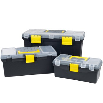 Stalwart 3-Piece Portable Tool Box Set with Removeable Tray