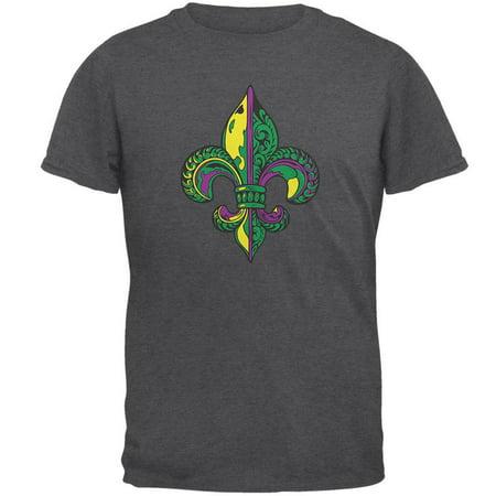 Mardi Gras Ornate Colorful Fleur-de-Lis Dark Heather Adult (Dark Heather T-shirt)