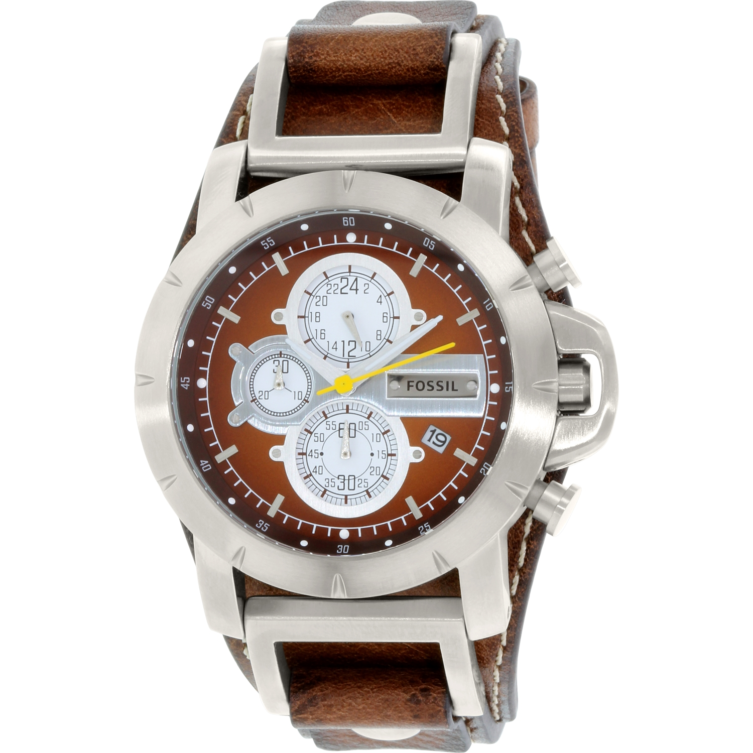 Fossil Men's Jake JR1157 Brown Leather Analog Quartz Watch