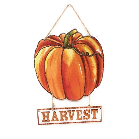 Glittery Fall Harvest Hanging Wooden Welcome Sign, 13