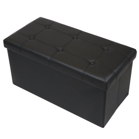 Otto & Ben 30 Inch Button Design Memory Foam Folding Storage Ottoman Bench with Faux Leather ()