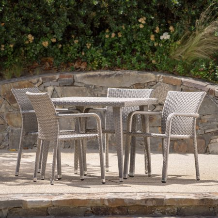 Rosalie 5 Piece Outdoor Aluminum Framed Wicker Dining Set with Square Table, Chateau Grey