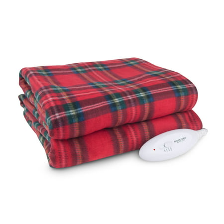 "Biddeford Blankets Limited Edition Holiday Comfort Knit Fleece Heated Electric Throw Blanket, 62"" x 50"", Red Plaid"