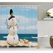 Snowman Shower Curtain Winter Vacation Holiday Theme With Seashells Sitting On Sandy Beach Coastal