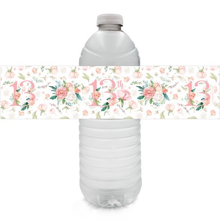 Floral 13th Birthday Water Bottle Labels 24ct