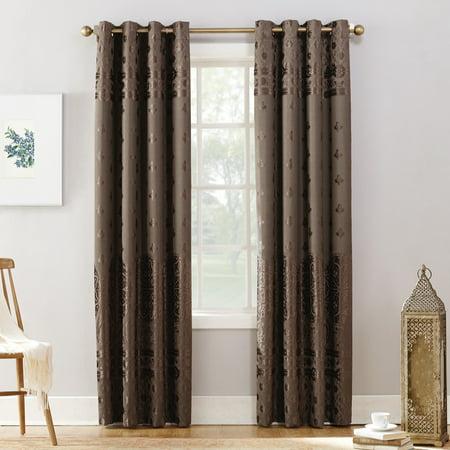 Velvet Drapery - Sun Zero Elidah Velvet Texture Medallion Blackout Grommet Curtain Panel