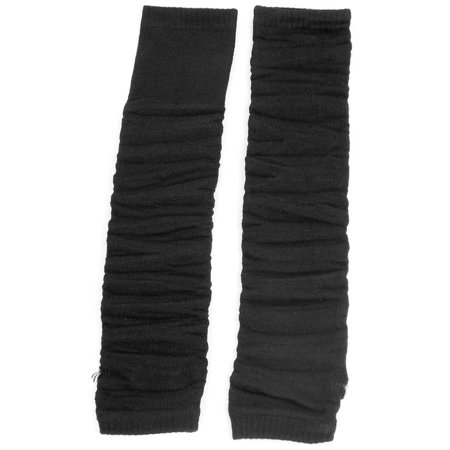 Women Elastic Fingerless Arm Warmers Elbow Decor Gloves Solid Black Pair - Black Arm Warmers