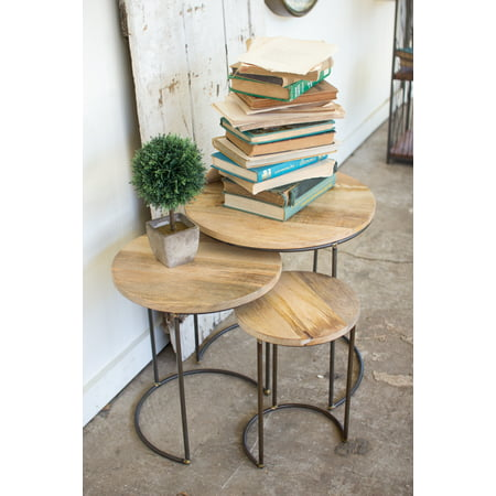 - 3 Pc Set of Modern Rustic Nesting Tables with Mango Wood Tops and Round Leg Frames