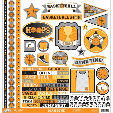 """Slam Dunk This & That Cardstock Stickers 12""""X12""""-, Doodlebug Collection Slam Dunk Sticker This & That- Over 60 stickers that include designs of.., By DOODLEBUG"""