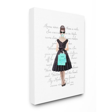 The Stupell Home Decor Collection Glam Shopping Hepburn Woman Blue Bubble Gum Fashion Stretched Canvas Wall Art, 16 x 1.5 x 20 ()