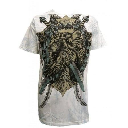 Konflic Men's Roaring Lion MMA T Shirt, White 2X-Large (Roaring 20s Mens Clothing)
