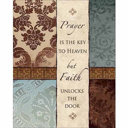 - Faith Unlocks The Door Abstract Traditional Pattern Panel Religious Typography Brown & Blue Canvas Art by Pied Piper Creative