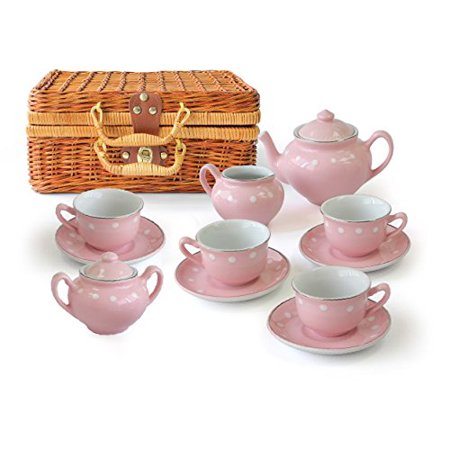 Children's 13 Piece Pink Porcelain Play Tea Set with Wicker Basket