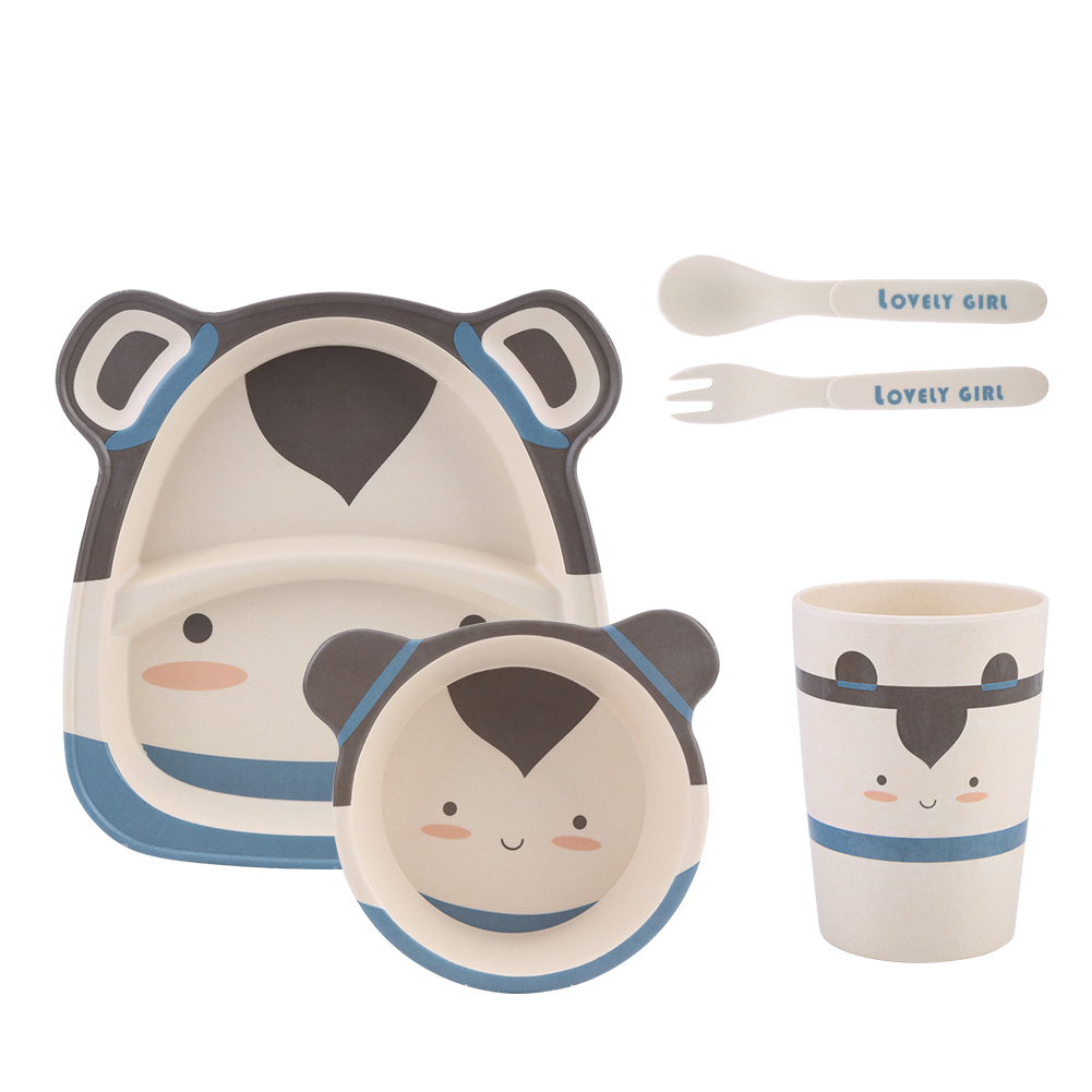 Fosa 5Pcs Bamboo Fiber Cartoon Tableware Dishes Bowl Cup Plates Sets for Infant Baby Kids, Baby Tableware Set,Cartoon Tableware Set