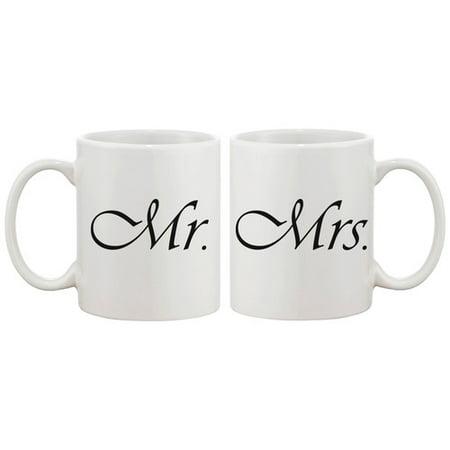 365 Printing Inc 2 Piece Mr and Mrs Simple Couple Matching 11 oz. Mug Set