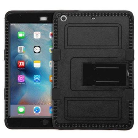 Insten Hard Dual Layer Rubber Coated Silicone Apple iPad Mini 2 Cover Case w/ Stand - Black (Apple Ipad Mini 2 Case Silicone)