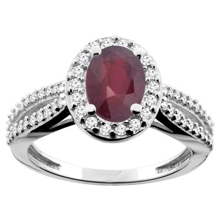 Natural Ruby Ring (10K White Gold Natural HQ Ruby Ring Oval 8x6mm Diamond Accent, size 5.5)