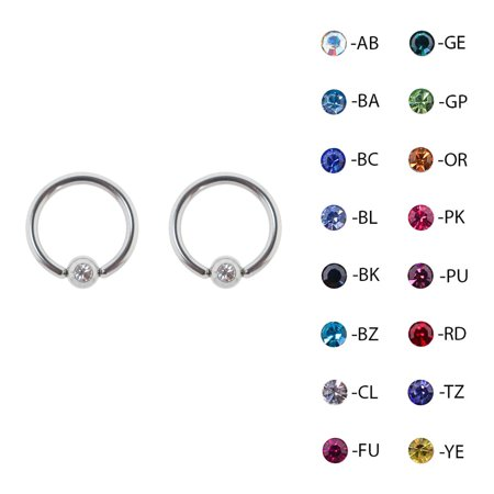 Lex & Lu Pair of Steel Captive Bead Ring CBR Earrings w/Gem 16 & 14 Gauge