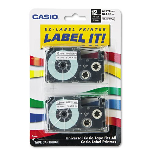 Casio Tape Cassettes for KL Label Makers, 12mm x 26ft, Bl...