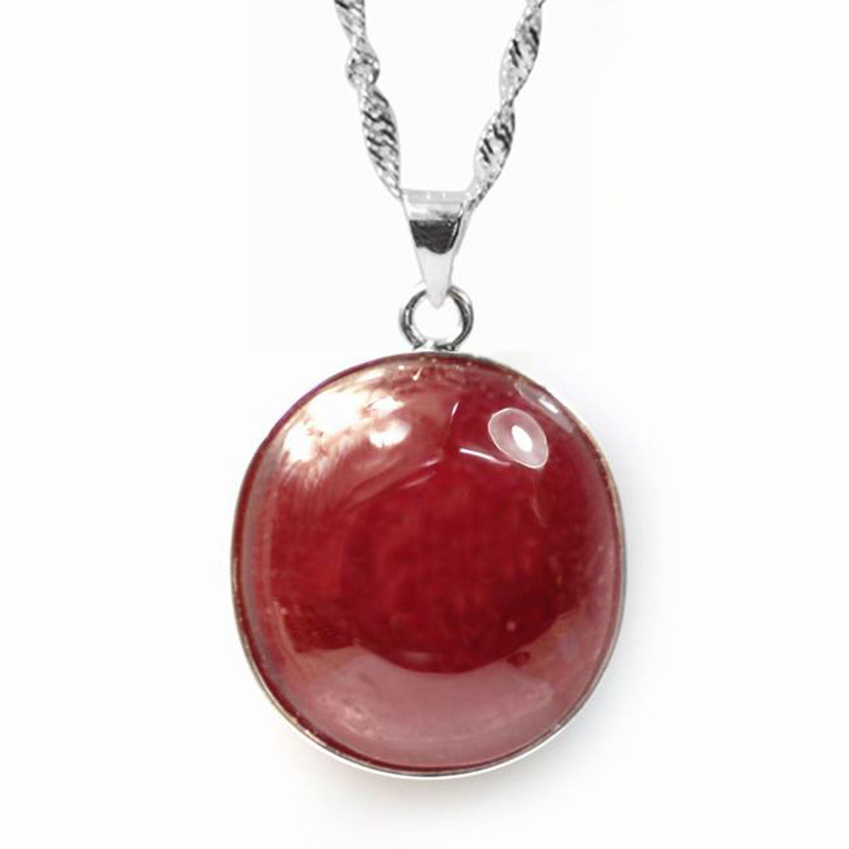 De Buman  Sterling Silver Genuine Ruby Solitaire Necklace