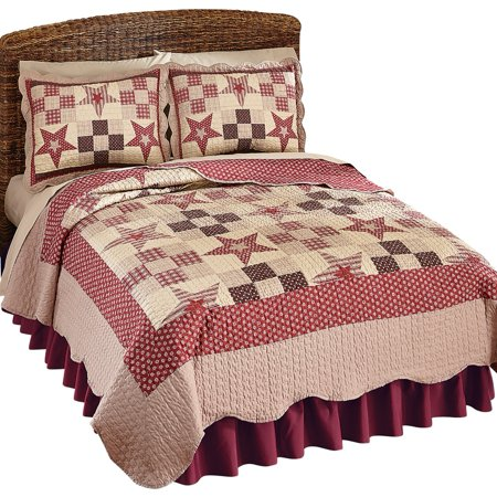 Country Star Checkered Floral Patchwork Reversible Lightweight Quilt  King  Burgundy