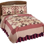 Country quilts country star checkered floral patchwork reversible lightweight quilt fullqueen burgundy fandeluxe Gallery