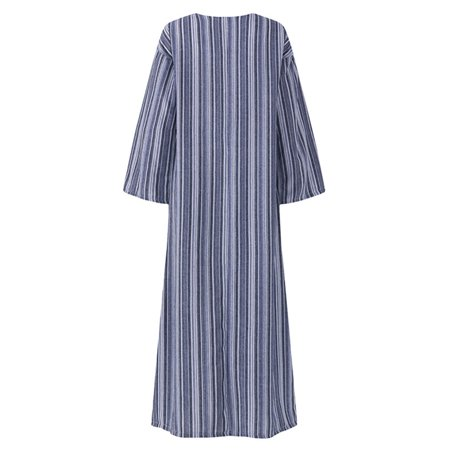 Women Casual Split Stripe DressCasual Front Pockets3/4 Sleeve,V NeckSoft Breathable MaterialSuitable for Travel,Beach,Daily Wear - image 3 de 11