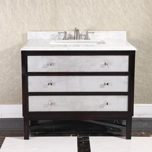 Infurniture Modern Carrera White Marble Top 36-inch Single Sink Bathroom Vanity