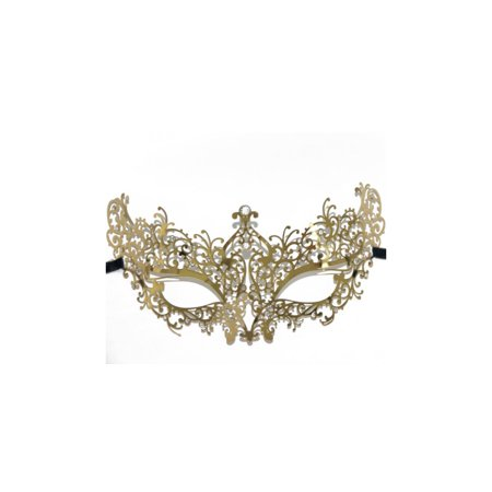 Lady Laser Cut Metal Gold Venetian Masquerade Mask with Crystals ()