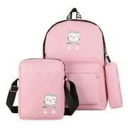 Famelof 3pcs/Set Cartoon Cat Women Canvas Backpacks Travel Shoulder Schoolbag (Pink