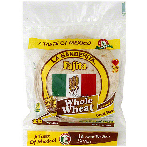 La Banderita Whole Wheat Fajita Tortillas, 16ct (Pack of 12)