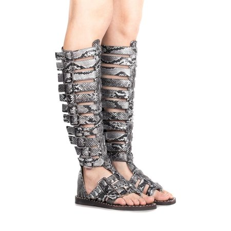 Jeffrey Campbell Perseus Women Open Toe Black Grey Snake Gladiator Sandal (7.5)