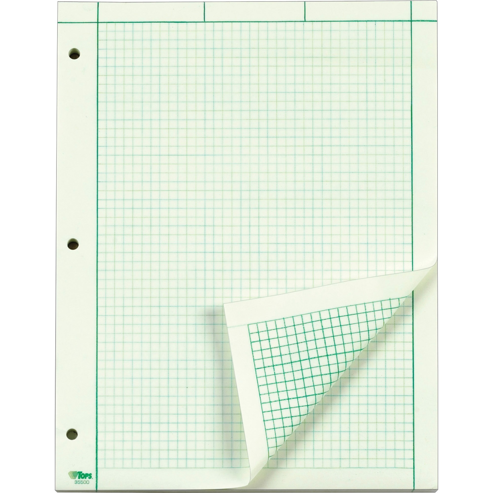 TOPS, TOP35500, Green Tint Engineering Computation Pad - Letter, 50 / Pad