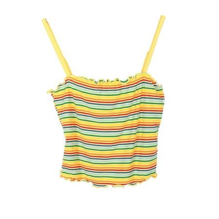 Lori & Jane Girls Yellow Blue Stripe Curly Edge Spaghetti Strap Top Girls Yellow Top