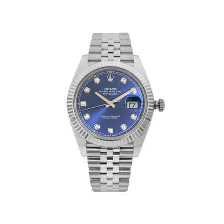 Rolex Datejust Steel Gold Blue Diamond Dial Automatic Mens Watch 126334BLDJ