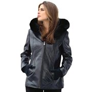 Reed® WOMEN'S 28 INCH FOX TRIMMED DETACHABLE HOOD AND BRAIDED LEATHER TRIM (Small, Black)
