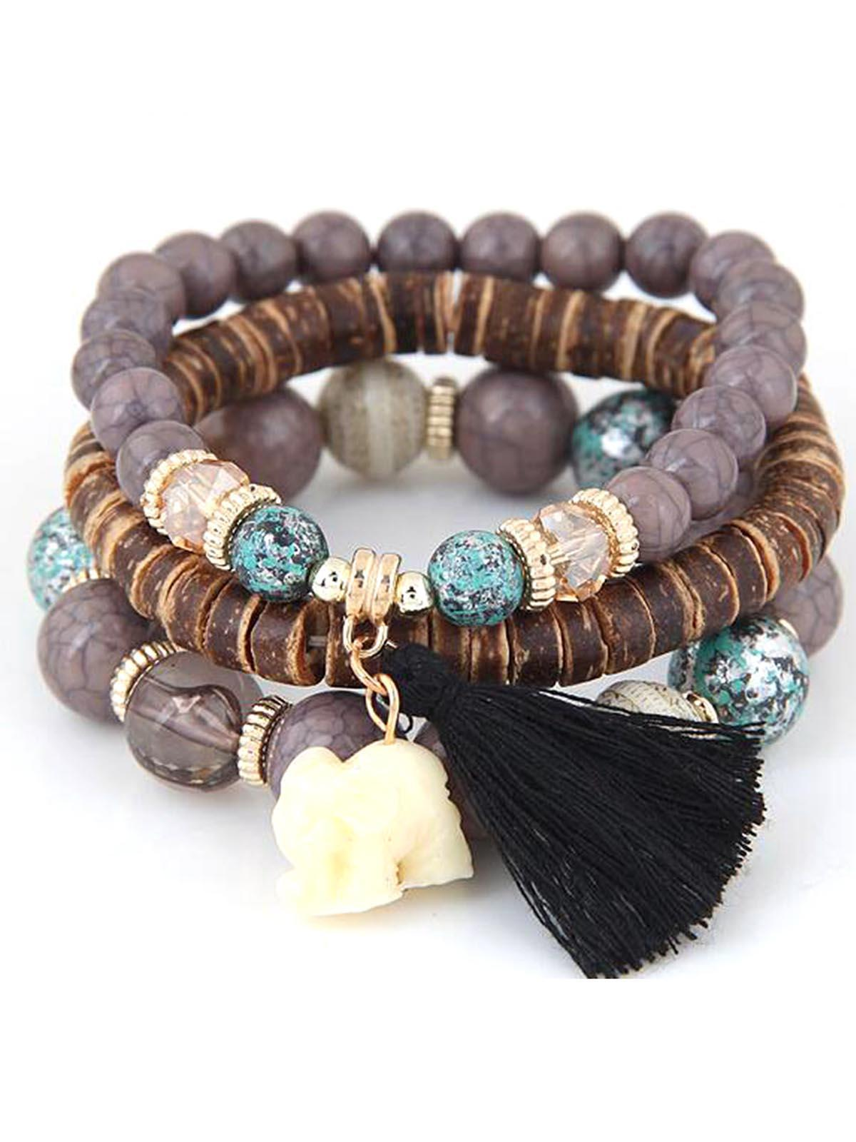 ad74f052e3338 Women Fashion Wood Beads Bracelets Boho Small Elephant Charm Bracelets Set  Vintage Style Jewelry FSBR
