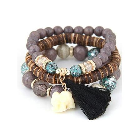 Loom Work Beaded Bracelets - Women Fashion Wood Beads Bracelets Boho Small Elephant Charm Bracelets Set Vintage Style Jewelry FSBR