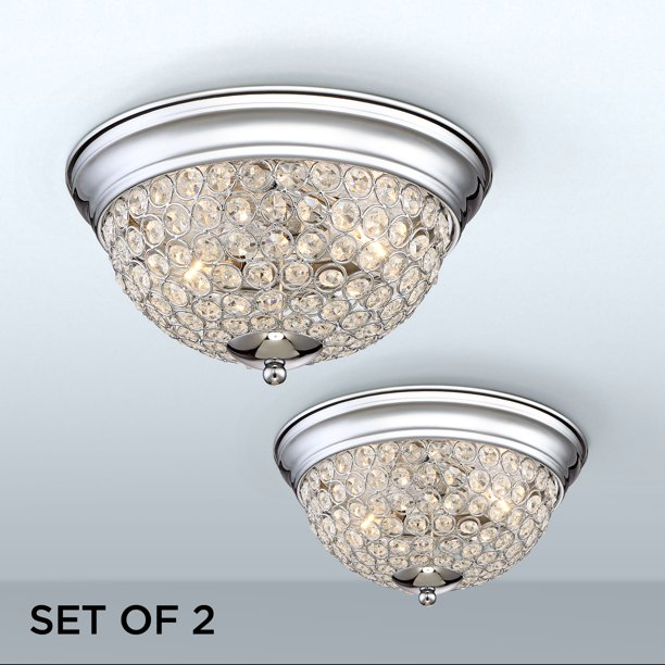 Possini Euro Design Modern Ceiling Light Flush Mount Fixtures Set Of 2 Chrome Crystal Accent For Bedroom Kitchen Hallway Bathroom Walmart Com Walmart Com