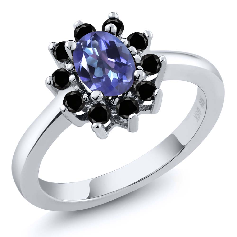 1.28 Ct Oval Purple Blue Mystic Topaz and Black Diamond 925 Silver Ring