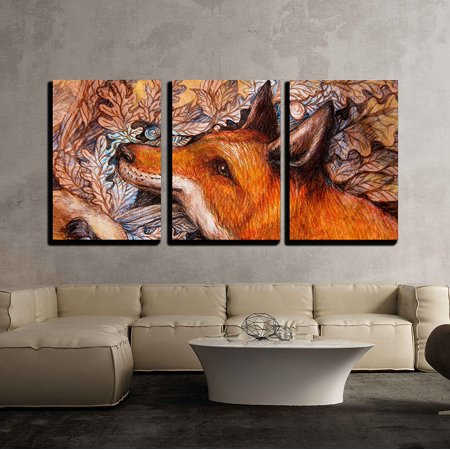 - wall26 - 3 Piece Canvas Wall Art - Red Fox Portrait, Colorful Painting with Ornamental Background. - Modern Home Decor Stretched and Framed Ready to Hang - 24