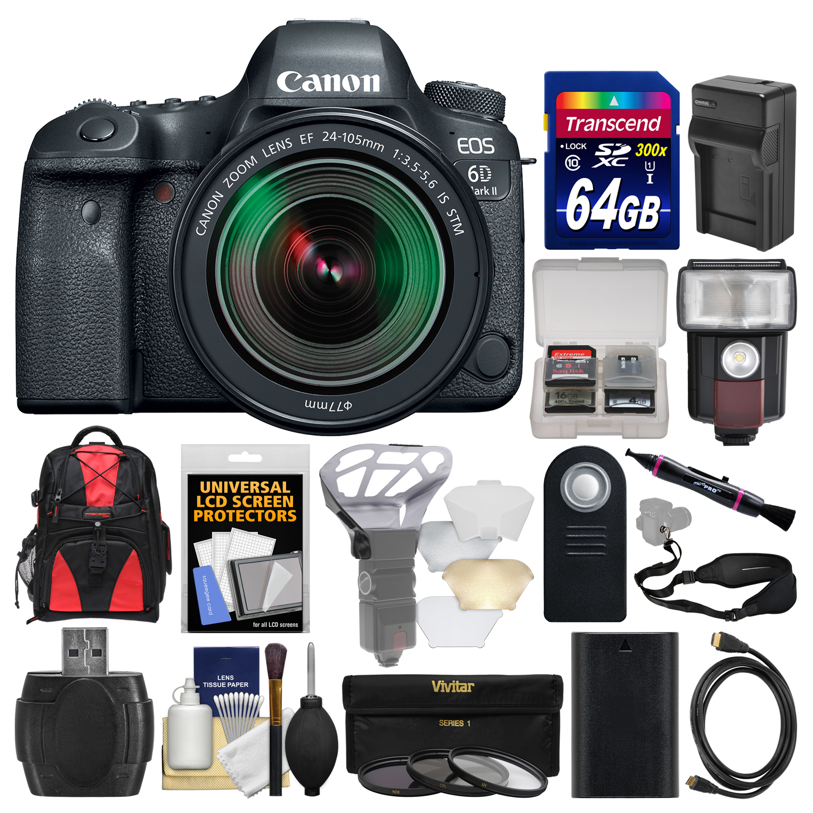 Canon EOS 6D Mark II Wi-Fi Digital SLR Camera & EF 24-105mm IS STM Lens with 64GB Card + Backpack + Flash + Battery &... by Canon