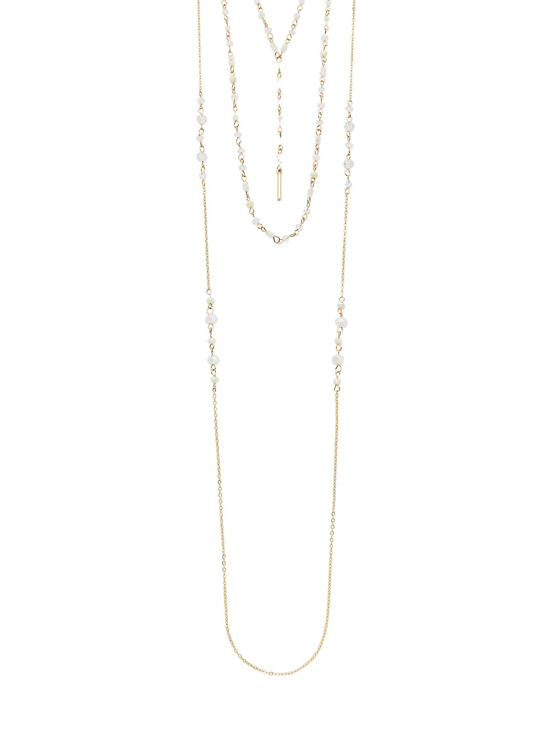 Goldtone Beaded Layered Necklace
